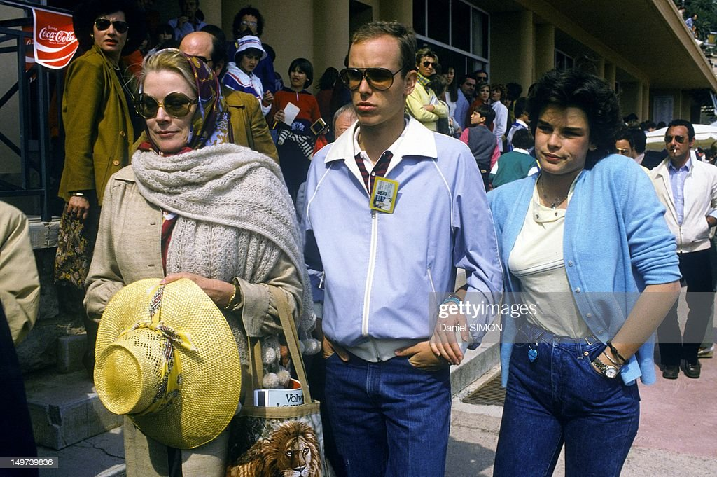 Princess Grace of Monaco with her children Prince Albert and Princess Stephanie at Monaco Tennis Tournament on April 5, 1982 in Monaco.