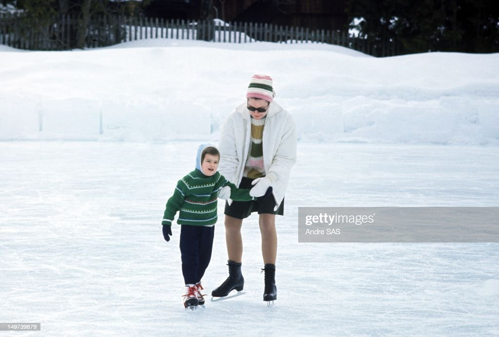 Princess Grace of Monaco with her daughter Stephanie ice skating together on March 1, 1969 in Saanenmosser, Switzerland.