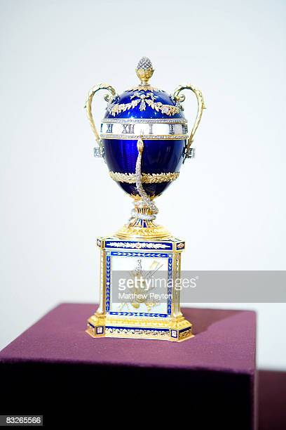Princess Grace of Monaco's personal Faberge egg is displayed at the 'Artistic Luxury Faberge Tiffany Lalique' exhibition preview at the Consulate Of...