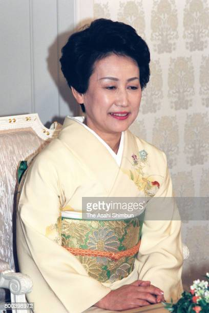 Princess Hanako of Hitachi attends a press conference ahead of Prince Hitachi's 60th birthday at his residence on November 16 1995 in Tokyo Japan