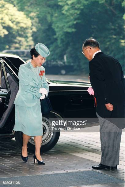 Princess Hanako of Hitachi is seen on arrival to attend the Japan Red Cross Society annual meeting at Meiji Jingu Kaikan on May 15 1996 in Tokyo Japan