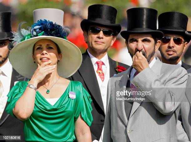 HRH Princess Haya Bint Al Hussein and HH Sheikh Mohammed Bin Rashid Al Maktoum watch the racing as they attend Royal Ascot Ladies Day at Ascot...