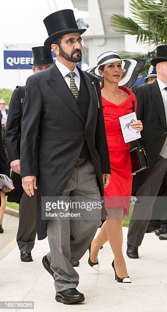 Princess Haya Bint Al Hussein and Sheikh Mohammed Bin Rashid Al Maktoum at The Investec Derby Festival at Epsom Racecourse on June 1 2013 in Epsom...