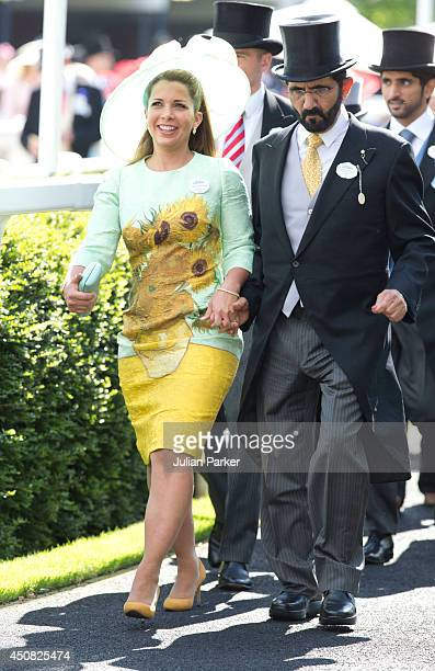 Princess Haya bint Al Hussein and Sheikh Mohammed Bin Rashid Al Maktoum attend Day 2 of Royal Ascot at Ascot Racecourse on June 18 2014 in Ascot...