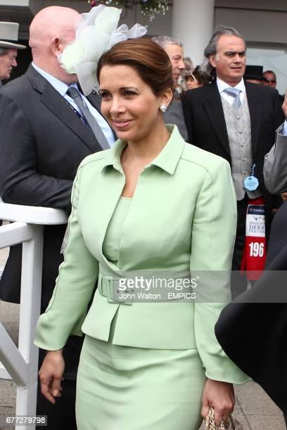Princess Haya Bint Al Hussein enters the winner's enclosure at Epsom Downs