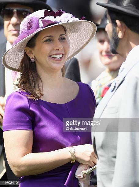 Princess Haya Bint Al Hussein laughs in the parade ring on the opening day of Royal Ascot at Ascot Racecourse on June 14 2011 in Ascot United Kingdom