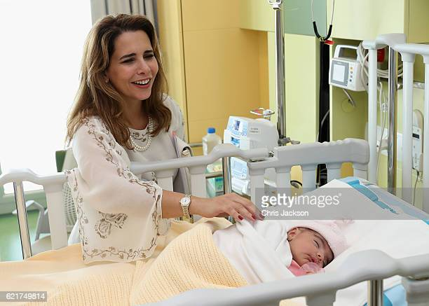 Princess Haya Bint Al Hussein meets patients at Al Jalila Children's Speciality Hospital on day 3 of a Royal tour of the United Arab Emirates on...
