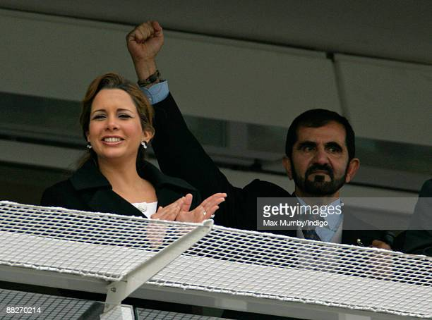 HRH Princess Haya Bint Al Hussein of Jordan and HH Sheikh Mohammed Bin Rashid Al Maktoum watch the feature race during the Epsom Derby Festivalat...