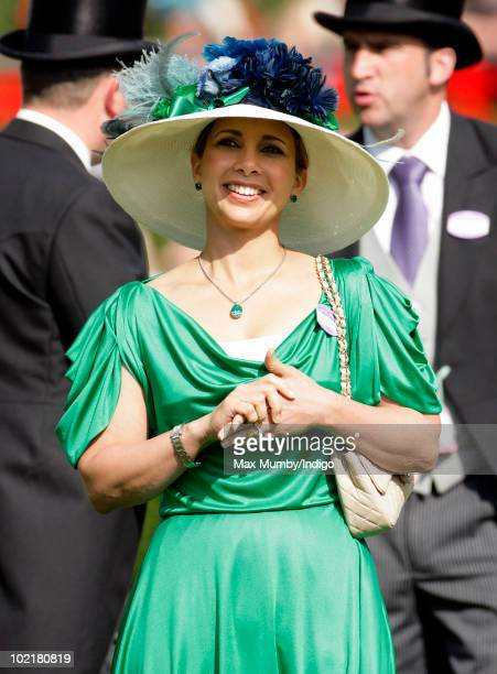 HRH Princess Haya Bint Al Hussein of Jordan watches the racing as she attends Royal Ascot Ladies Day at Ascot Racecourse on June 17 2010 in Ascot...