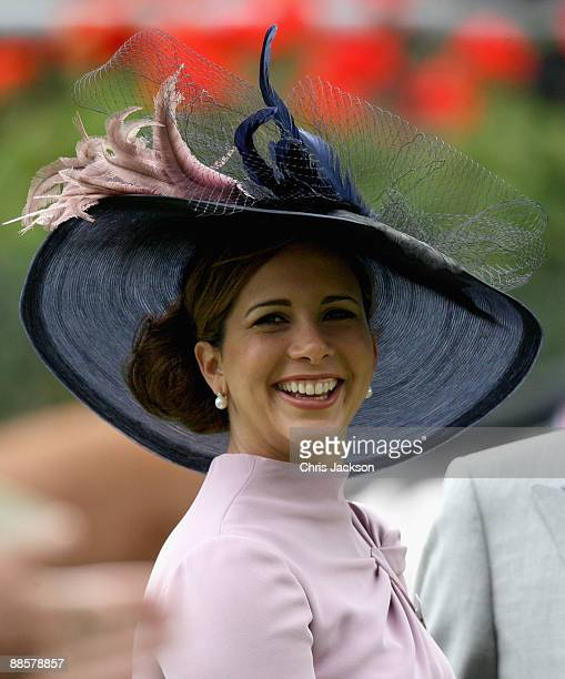 Princess Haya Bint Al Hussein smiles in the parade ring on day four of Royal Ascot 2009 at Ascot Racecourse on June 19 2009 in Ascot England