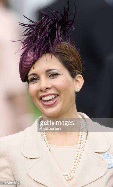Princess Haya Bint Al Hussein smiles in the parade ring on Ladies Day at Royal Ascot at Ascot Racecourse on June 14 2011 in Ascot United Kingdom