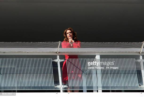 Princess Haya of Jordan watches on during Ladies Day at the Investec Derby Festival Epsom Downs Racecourse