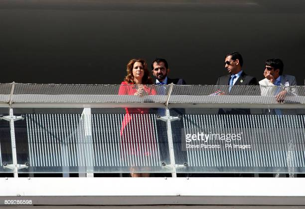 Princess Haya of Jordan with Sheikh Mohammad Bin Rashid Al Maktoum during Ladies Day at the Investec Derby Festival Epsom Downs Racecourse