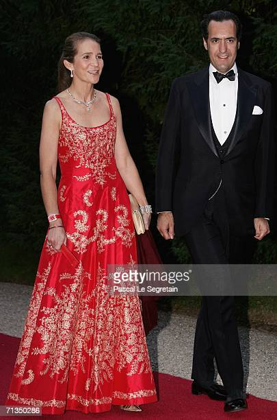 Princess Helena of Spain and Jaime de Marichalar pose as they arrive to attend a royal dinner that is part of the Grand Duke Henri of Luxembourg's...