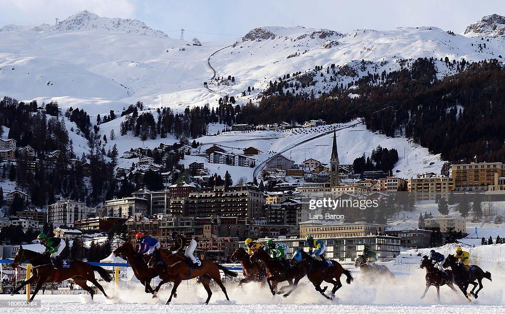 Princess Hillary ridden by Dennis Schiergen leads the field into the first turn during the Hotelleriesuisse St. Moritz und Galopprennfreunde Schweiz race at the White Turf horse racing meeting held on the frozen Lake St Moritz on February 3, 2013 in St Moritz, Switzerland.