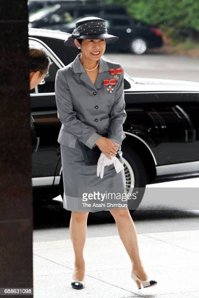Princess Hisako of Takamado is seen on arrival prior to the Japanese Red Cross Society annual meeting at Meiji Jingu Kaikan on May 25 2017 in Tokyo...