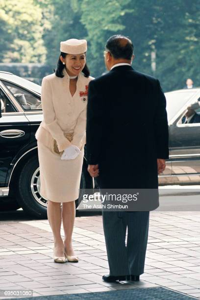 Princess Hisako of Takamado is seen on arrival to attend the Japan Red Cross Society annual meeting at Meiji Jingu Kaikan on May 15 1996 in Tokyo...