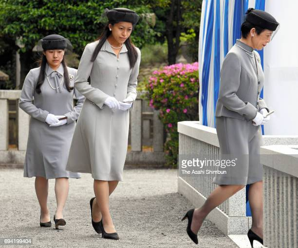 Princess Hisako Princess Tsuguko and Princess Ayako of Takamado attend the fifth anniversary memorial ceremony for late Prince Tomohito of Mikasa at...
