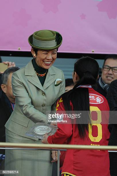 Princess Hisako Takamado looks on after the 37th Empress's Cup All Japan Women's Championship final match between INAC Kobe Leonessa and Albirex...