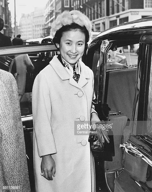Princess Hitachi the wife of Prince Hitachi leaving Claridge's in London for Buckingham Palace 8th November 1965 She and her husband are in the UK...