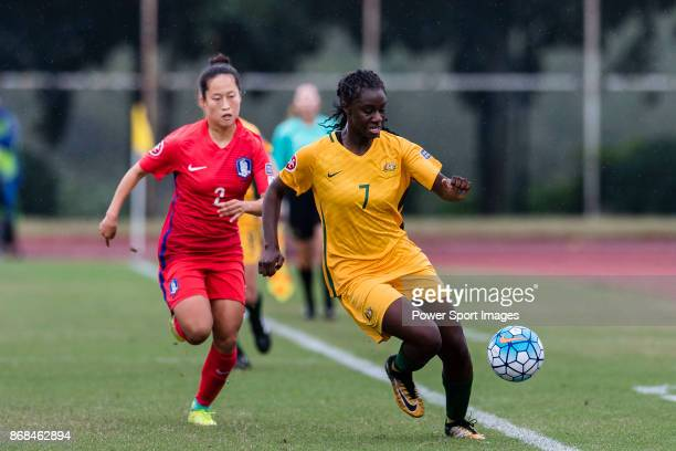 Princess IbiniIsei of Australia in action during their AFC U19 Women's Championship 2017 Group Stage B match between South Korea and Australia at...