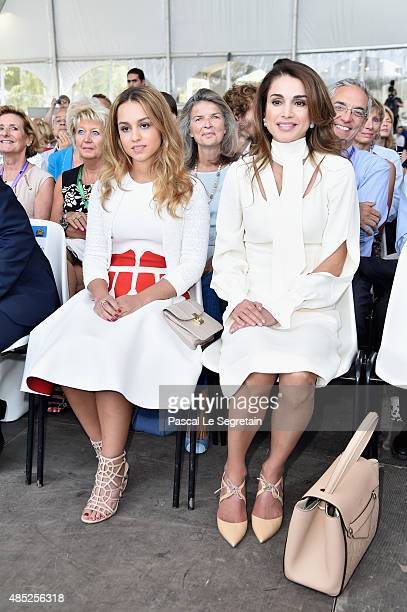 Princess Iman bint Abdullah of Jordan and Queen Rania of Jordan attend Medef Summer 2015 University Conference on August 26 2015 in JouyenJosas France