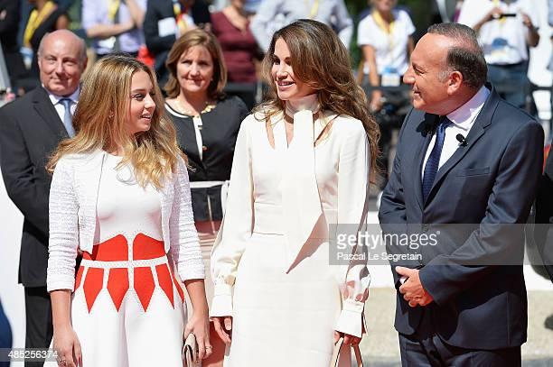 Princess Iman Bint Abdullah of Jordan Queen Rania of Jordan and Pierre Gattaz and Princess Iman Bint Abdullah of Jordan attend the Medef Summer 2015...