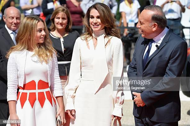 Princess Iman Bint Abdullah of Jordan Queen Rania of Jordan and Pierre Gattaz attend the Medef Summer 2015 University Conference on August 26 2015 in...
