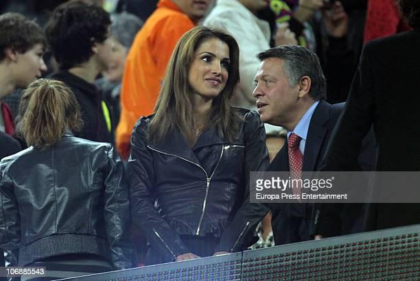 Princess Iman Queen Rania of Jordania and King Abdullah attend a Liga match between Barcelona and Villarreal CF at Camp Nou Stadium on November 13...