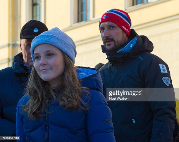 Princess Ingrid Alexandra and Prince Haakon of Norway enjoy the festivities and winter activities in the Palace Square in Oslo during the Celebration...