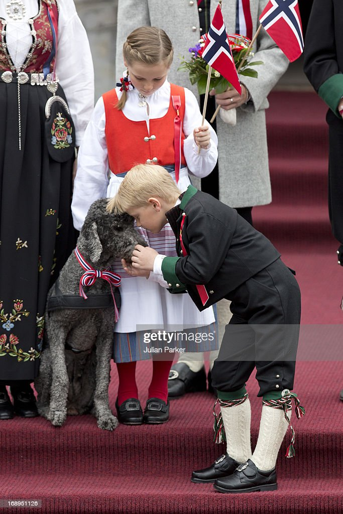 Princess Ingrid Alexandra, and Prince Sverre Magnus of Norway and Family Dog, Milly Kakao,celebrate Norway National Day at The Crown Prince couples residence, Skaugum, in Asker, near Oslo on May 17, 2013 in Asker, Norway.