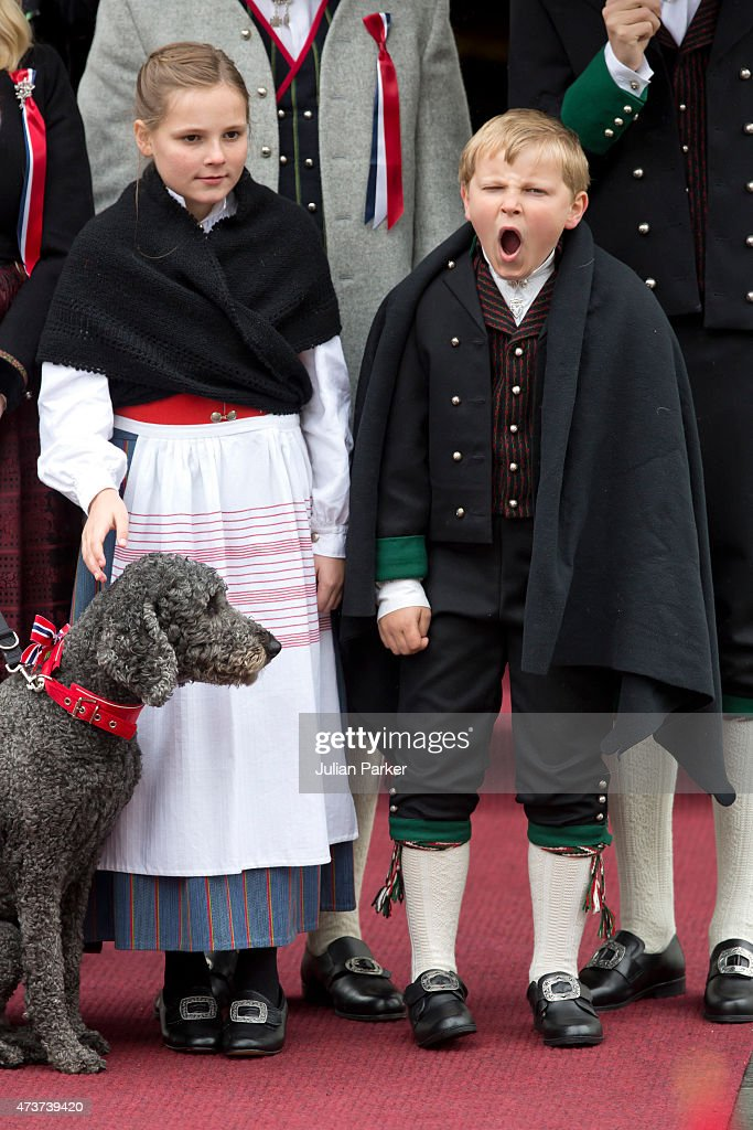 Princess Ingrid Alexandra and Prince Sverre Magnus of Norway watch the traditional morning children's parade, at their home, Skaugum, in Asker, near Oslo, on Norway's National Day, on May 17, 2015 in Oslo, Norway.