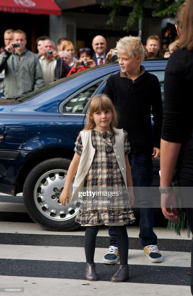 Princess Ingrid Alexandra of Norway and Marius Borg Hoiby attend the anniversary screening of the Norwegian film Pinchcliffe Grand Prix (Flaklypa Grand Prix) on August 28, 2010 in Oslo, Norway.