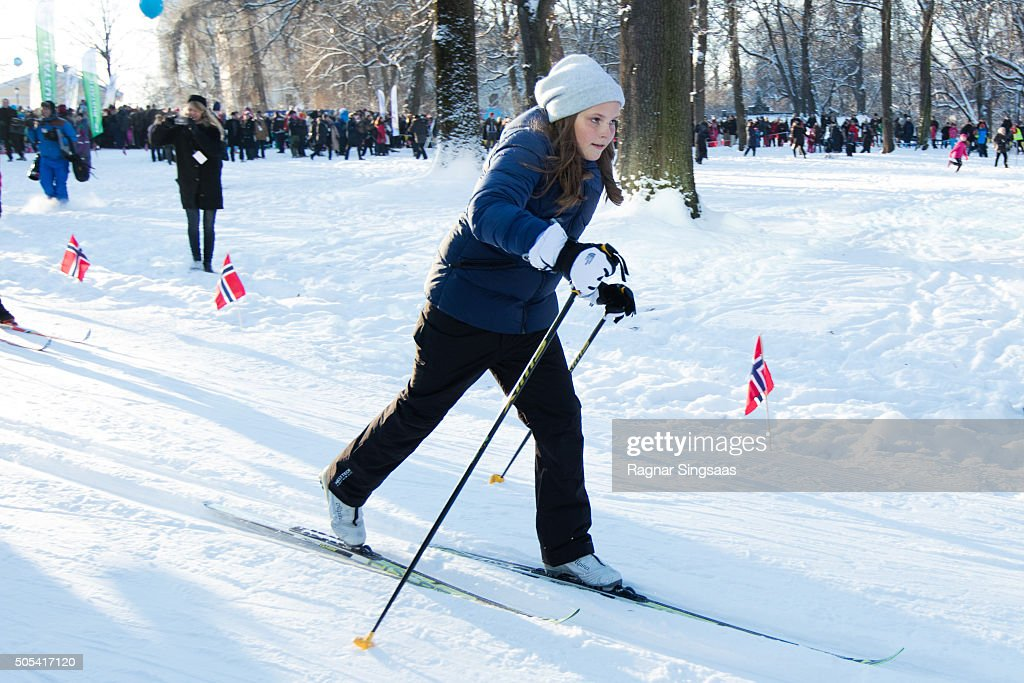 Princess Ingrid Alexandra of Norway attends Winter Games activities outside the Royal Palace while celebrating the 25th anniversary of King Harald V and Queen Sonja of Norway as monarchs on January 17, 2016 in Oslo, Norway.