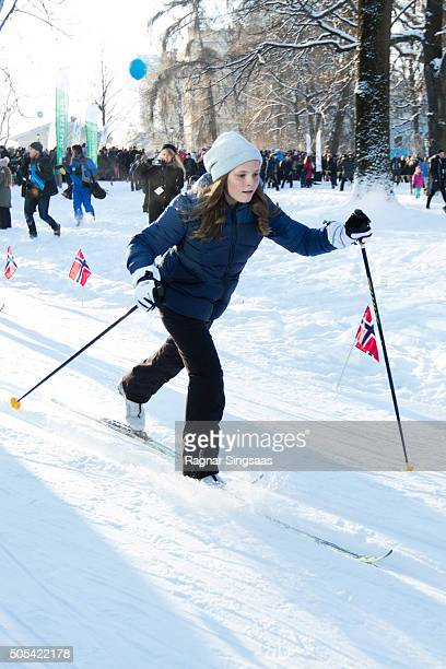 Princess Ingrid Alexandra of Norway attends Winter Games activities outside the Royal Palace while celebrating the 25th anniversary of King Harald V...