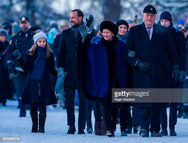 LR Princess Ingrid Alexandra of Norway Crown Prince Haakon of NorwayQueen Sonja of Norway and King Harald of Norway walk from the royal palace to the...