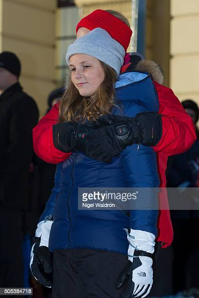 Princess Ingrid Alexandra of Norway enjoys the festivities and winter activities in the Palace Square in Oslo during the Celebration of the 25th...
