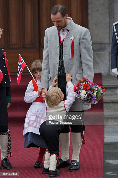 Princess Ingrid Alexandra of Norway Prince Sverre Magnus of Norway and Crown Prince Haakon of Norway attend The Children's Parade on Norway's...