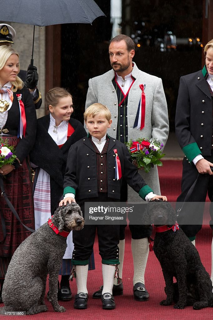 Princess Ingrid Alexandra of Norway, Prince Sverre Magnus of Norway and Crown Prince Haakon of Norway celebrate National Day on May 17, 2015 in Asker, Norway.