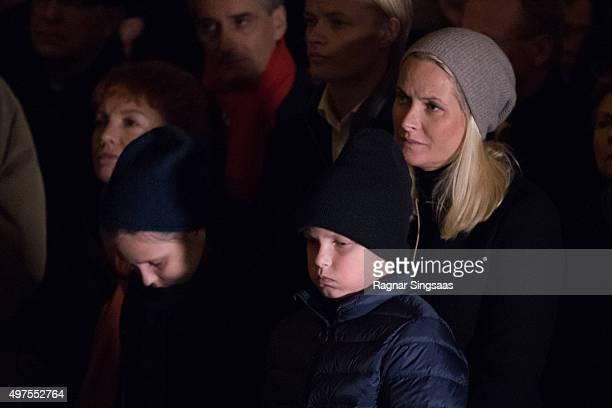 Princess Ingrid Alexandra of Norway Prince Sverre Magnus of Norway and Crown Princess MetteMarit of Norway attend a Paris Memorial on November 17...