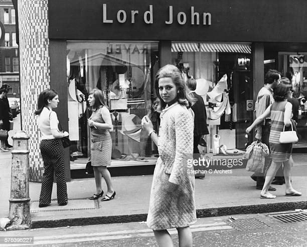 Princess Ira von Furstenberg pictured arriving at the Carnaby Street shop of fashion designer Lord John London circa 1965
