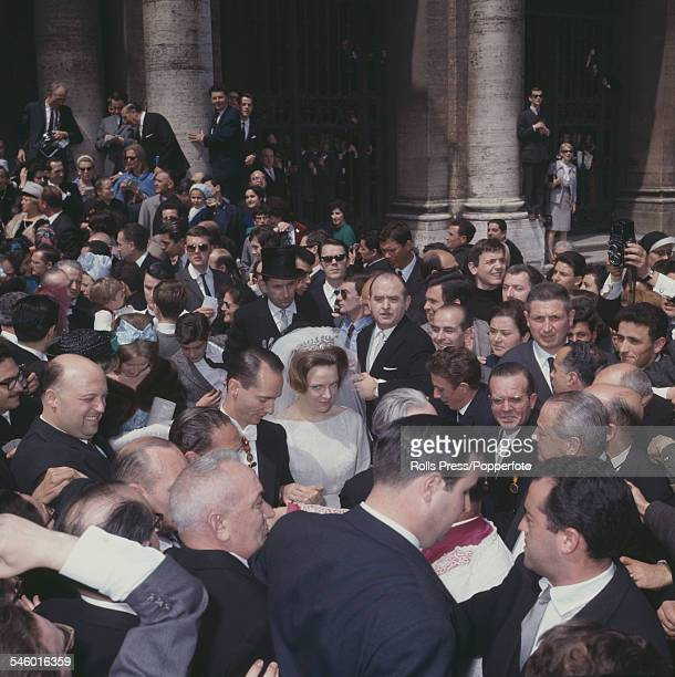 Princess Irene of the Netherlands and Carlos Hugo Duke of Parma leave the Basilica di Santa Maria Maggiore in Rome after their wedding ceremony on...