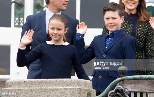 Princess Isabella and Prince Christian of Denmark at Queen Margrethe of Denmark's 77th Birthday celebrations at Marselisborg Palace on April 16 2017...