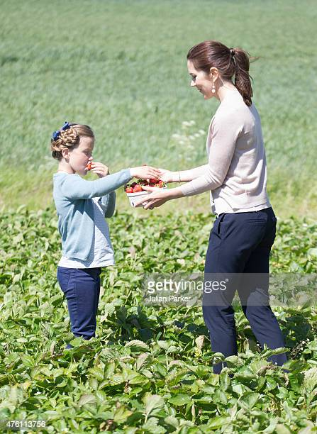Princess Isabella of Denmark accompanied by her mother Crown Princess Mary of Denmark visits a Strawberry Farm during her first day of official...
