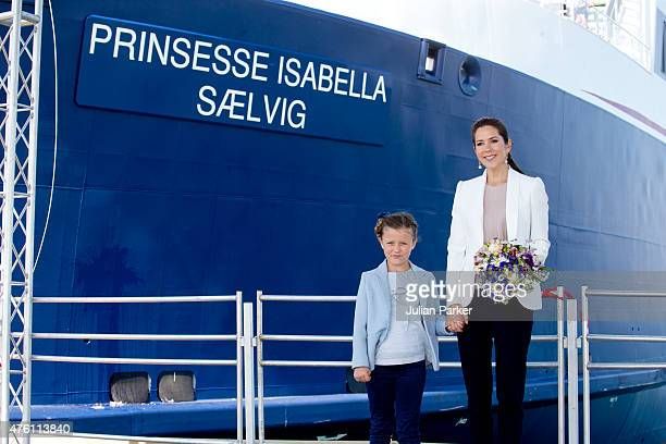 Princess Isabella of Denmark accompanied by her mother Crown Princess Mary of Denmark names a Ferry after herself at Saelvig Harbour during her first...
