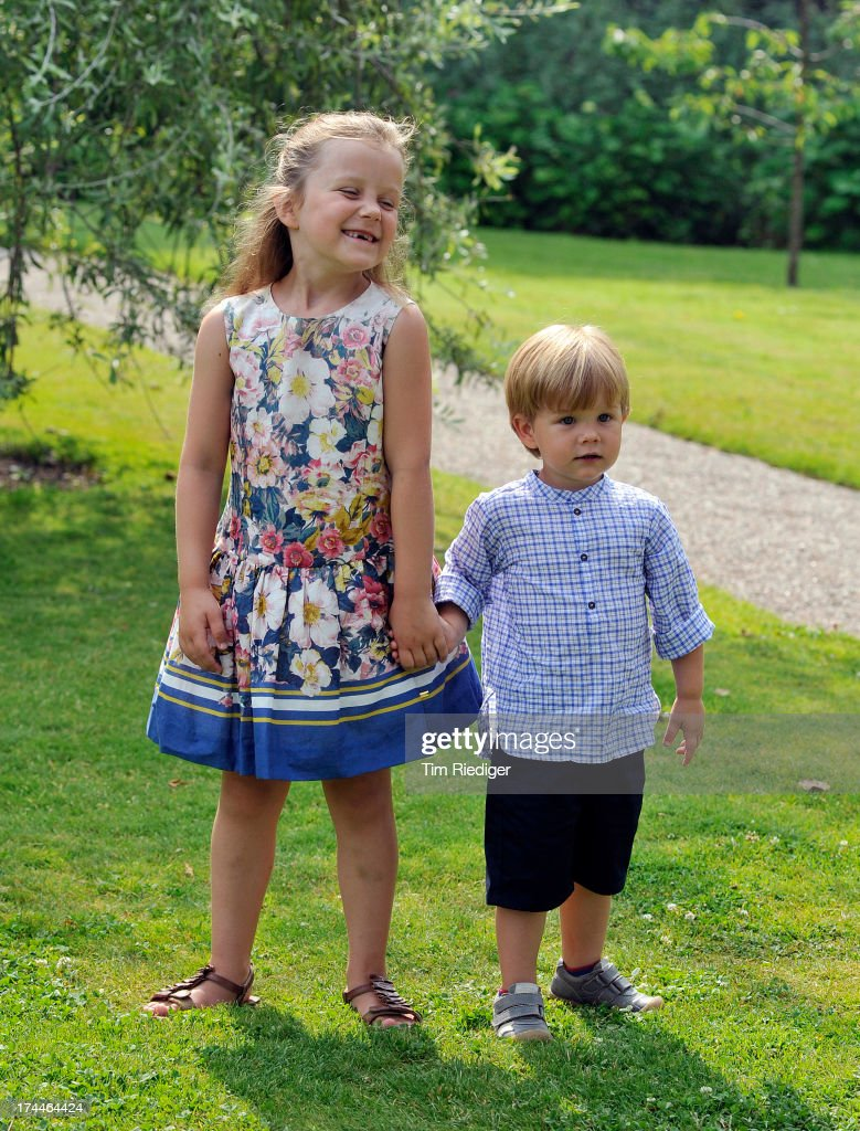 Princess Isabella of Denmark and Prince Vincent of Denmark attend the annual Summer photocall for the Royal Danish family at Grasten Castle on July 26, 2013 in Grasten, Denmark.