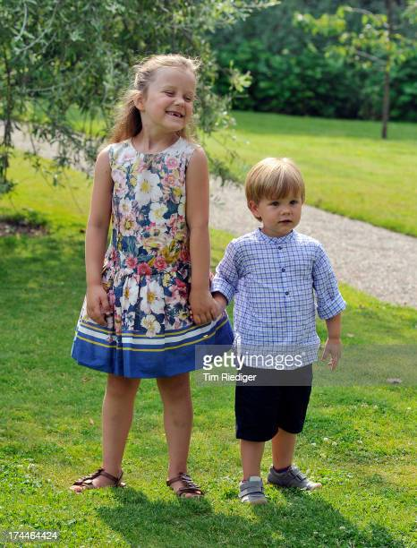 Princess Isabella of Denmark and Prince Vincent of Denmark attend the annual Summer photocall for the Royal Danish family at Grasten Castle on July...
