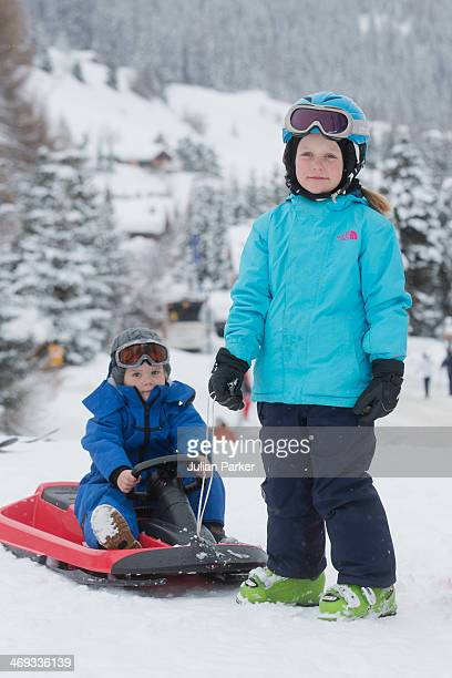 Princess Isabella of Denmark and Prince Vincent of Denmark pose during their annual winter family holiday photocall on February 14 2014 in Verbier...
