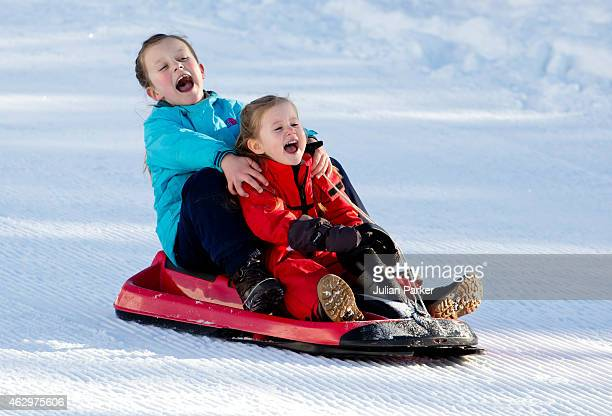 Princess Isabella of Denmark and Princess Josephine of Denmark attend a Photocall during their annual Ski holiday on February 8 2015 in Verbier...