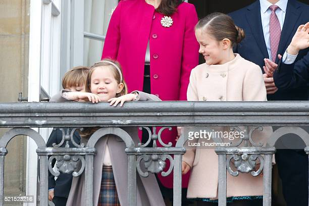 Princess Isabella of Denmark and Princess Josephine of Denmark ttend the celebrations of her Majesty's 76th birthday at Amalienborg Royal Palace on...